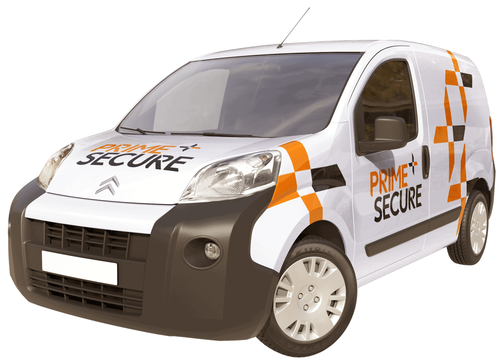 Prime Secure mobile patrol vehicle with branding